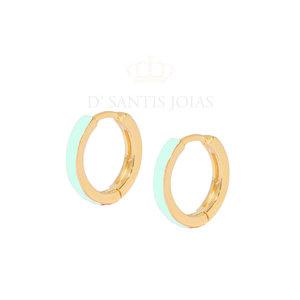 Argola Esmaltada Basica Verde Claro Ouro18k