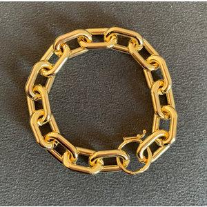 Pulseira elos tubo ouro com fecho boia removivel Ouro18k