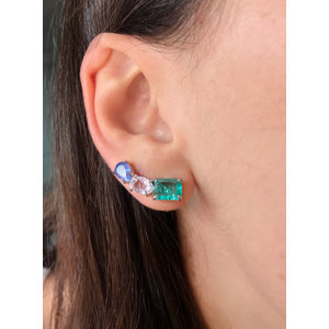 Brinco Ear Cuff Colors Quadrado, Oval e Gota Rodio