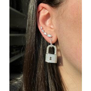Brinco Ear Cuff Navetes Cristais Prata925