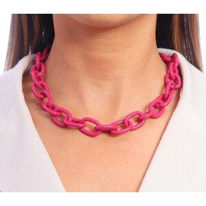 Colar Corrente Elos Esmaltados Colors Pink Ouro18k