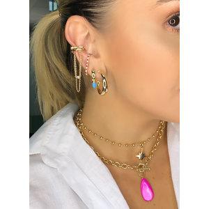 Brinco Ear Hook Princess Ouro18k