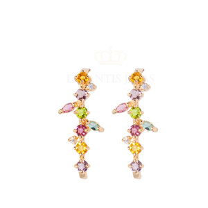 Brinco Ear Hook Garden Rainbow Ouro18k