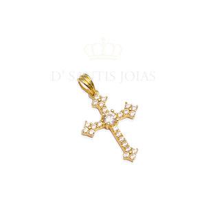Pingente Crucifixo vintage style Cravejado Ouro 18k
