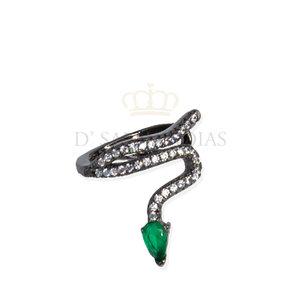 piercing snack esmeralda rodio negro prata925