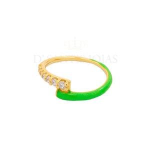 Anel Duplo Cravejado e Esmaltado Verde Neon Ouro18k