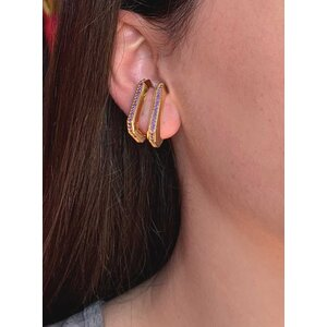 Brinco ear hook de pressao HB ouro com volta cravejada roxa (unitário)