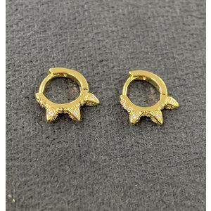 Argola Cravejada Spikes Pequena Ouro18k