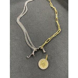 Colar Duo Cartier e Grumet rodio e ouro com fecho boia removivel