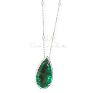 colar gota esmeralda fusion cravejada corrente ponto de luz prata925 (grande)