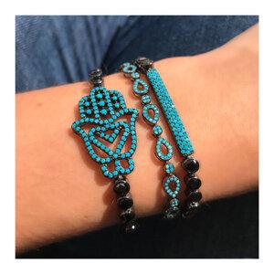 Pulseira Riviera Black com Mão de Hamsa Azul