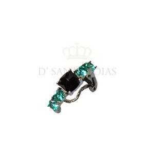 Piercing com Quadrado Negro e zirconias Turmalinas Prata925