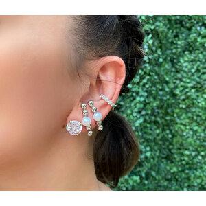 Brinco Ear Hook Bolinhas com Perola Prata925