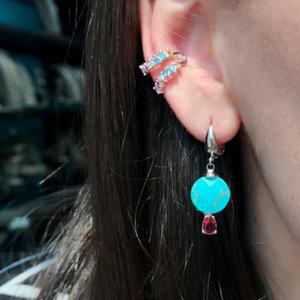 Piercing Dupla Cravação Azul e Rosa Rodio