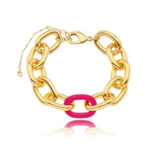 Pulseira Elos Lisos com Esmaltado Pink Ouro18k