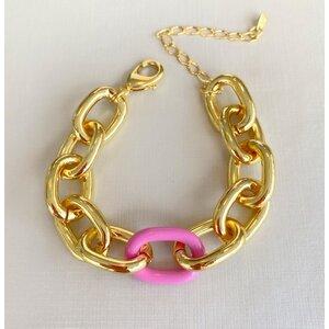 Pulseira Elos Lisos com Esmaltado Rosa Chiclete Ouro18k