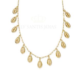 Colar Corrente Cartier com Buzios Pendurados Ouro