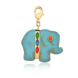 Pingente Elefante Pedra Natural Rainbow Ouro