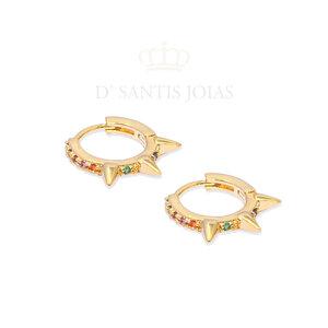 Argola Spikes Rainbow Ouro