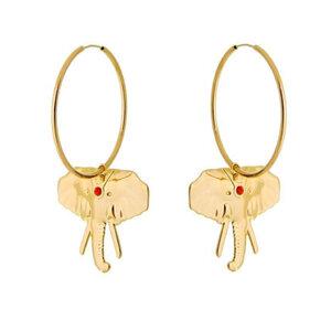 Argola 4 cm com Elefante com Ponto Coral Ouro