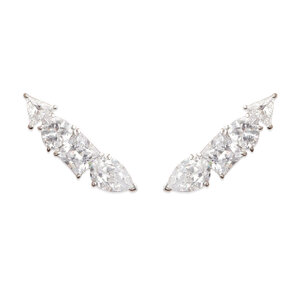 Brinco Ear Cuff Arrow Cristal Prata925