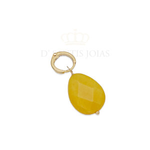 Pingente Gota Jade Amarela Ouro