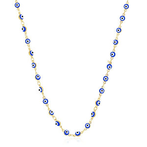 Colar Longo Olho Grego Azul Ouro 80 cm