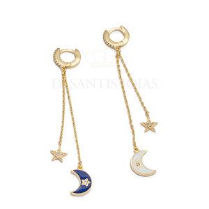 Argola Fio Lua crescente com estrela Esmaltada ( escolha a cor )UNITÁRIO