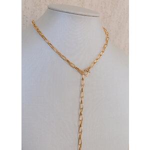 Colar gravata Elos com fecho Coraçao Ouro