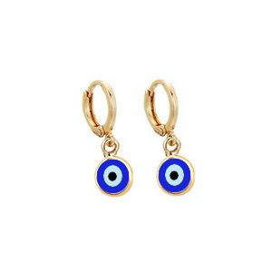Argola Olho Grego Azul Royal Ouro (escolha o tamanho)