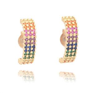 Brinco Ear Hook Rainbow 3 Linhas Cravejadas Ouro