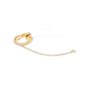 Piercing Cravejado Cristal com Fio Ouro