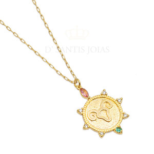 Colar Medalha Signo Corrente Cartier ouro (escolha o signo)