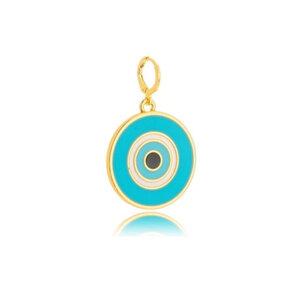 Pingente Olho Grego Grande Esmaltado Azul