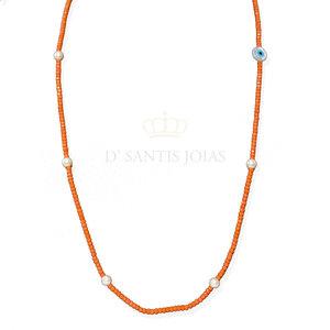 Colar Longo Fio de Cristais cor Coral com Olho Grego e Pérolas