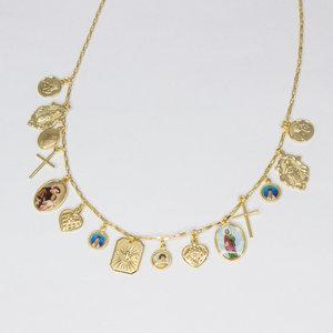 Colar Figuras Religiosas e Pingentes Vintage Corrente Cartier Ouro