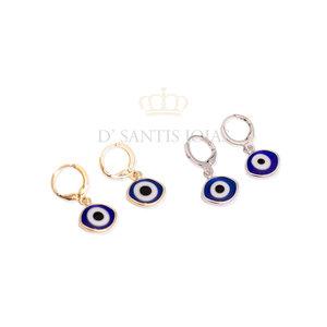 Argola Olho Grego Navete Azul Royal (escolha o Banho)