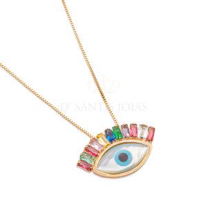 Colar Olho Grego Cilios Rainbow Ouro