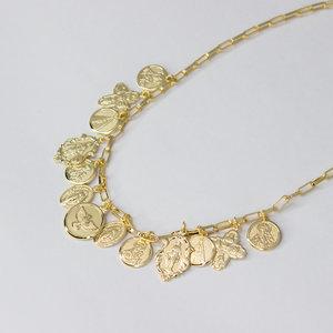 Colar Estilo Imperial com Medalhas Religiosas Corrente Cartier Ouro