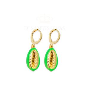 Argola Buzios Esmaltada Verde Neon Ouro18k