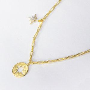 Colar modelo Cartier com Pingente Star Cravejado Ouro