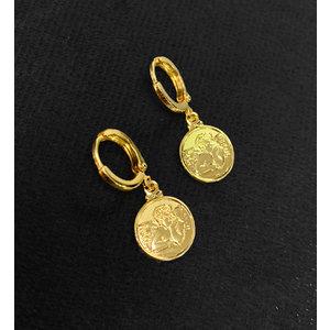 Argola Medalha Anjo da Guarda Ouro