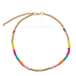 Colar Beads Colorful Ouro