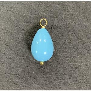 Pingente Gota Pedra Shell Azul 2cm