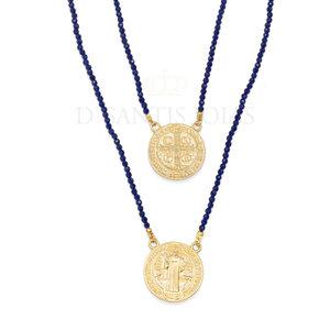 Escapulario Medalha São Bento Ouro corrente Cristais azuis