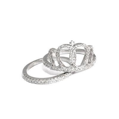 Anel Coroa mais aliança Prata925
