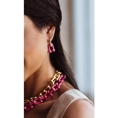 Brinco Argola Elos ferradura Rosa e Ouro18k desmontável