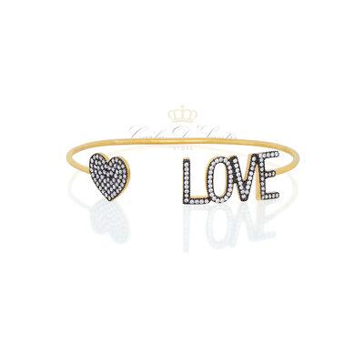Bracelete Love Cravejado Prata925 com ouro18k