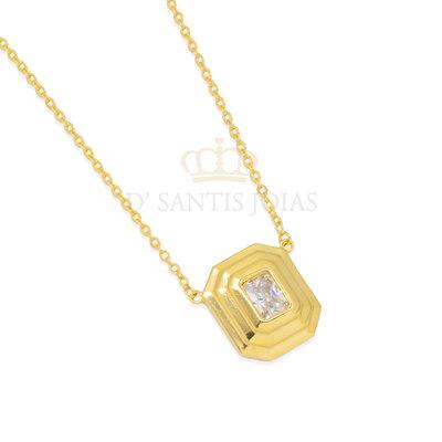 Colar Octogono Cristal Ouro18k
