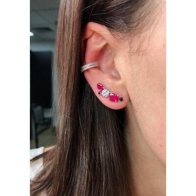 Brinco Ear Cuff Pandora Rubi Prata925